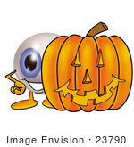 #23790 Clip Art Graphic Of A Blue Eyeball Cartoon Character With A Carved Halloween Pumpkin