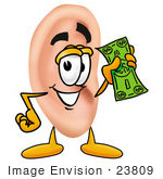 #23809 Clip Art Graphic of a Human Ear Cartoon Character Holding a Dollar Bill by toons4biz