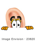 #23820 Clip Art Graphic Of A Human Ear Cartoon Character Peeking Over A Surface