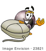 #23821 Clip Art Graphic Of A Billiards Eight Ball Cartoon Character With A Computer Mouse