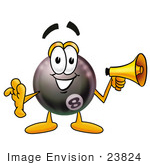 #23824 Clip Art Graphic Of A Billiards Eight Ball Cartoon Character Holding A Megaphone