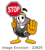 #23825 Clip Art Graphic Of A Billiards Eight Ball Cartoon Character Holding A Stop Sign