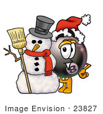 #23827 Clip Art Graphic Of A Billiards Eight Ball Cartoon Character With A Snowman On Christmas