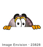 #23828 Clip Art Graphic Of A Billiards Eight Ball Cartoon Character Peeking Over A Surface