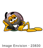 #23830 Clip Art Graphic Of A Billiards Eight Ball Cartoon Character Resting His Head On His Hand