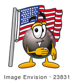 #23831 Clip Art Graphic Of A Billiards Eight Ball Cartoon Character Pledging Allegiance To An American Flag
