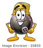 #23833 Clip Art Graphic Of A Billiards Eight Ball Cartoon Character Wearing A Hardhat Helmet