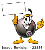 #23836 Clip Art Graphic Of A Billiards Eight Ball Cartoon Character Holding A Blank Sign