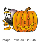 #23845 Clip Art Graphic Of A Billiards Eight Ball Cartoon Character With A Carved Halloween Pumpkin