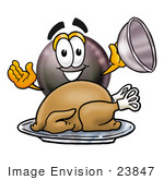 #23847 Clip Art Graphic Of A Billiards Eight Ball Cartoon Character Serving A Thanksgiving Turkey On A Platter