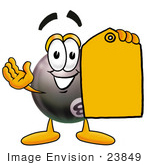 #23849 Clip Art Graphic Of A Billiards Eight Ball Cartoon Character Holding A Yellow Sales Price Tag