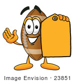 #23851 Clip Art Graphic Of A Football Cartoon Character Holding A Yellow Sales Price Tag