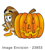 #23853 Clip Art Graphic Of A Football Cartoon Character With A Carved Halloween Pumpkin