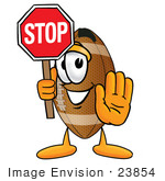 #23854 Clip Art Graphic Of A Football Cartoon Character Holding A Stop Sign