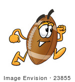 #23855 Clip Art Graphic Of A Football Cartoon Character Running
