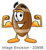 #23856 Clip Art Graphic Of A Football Cartoon Character Flexing His Arm Muscles