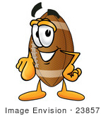 #23857 Clip Art Graphic Of A Football Cartoon Character Pointing At The Viewer