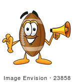 #23858 Clip Art Graphic Of A Football Cartoon Character Holding A Megaphone