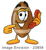 #23859 Clip Art Graphic Of A Football Cartoon Character Holding A Telephone