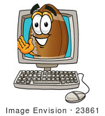 #23861 Clip Art Graphic Of A Football Cartoon Character Waving From Inside A Computer Screen