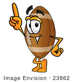 #23862 Clip Art Graphic Of A Football Cartoon Character Pointing Upwards