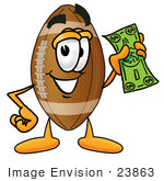 #23863 Clip Art Graphic of a Football Cartoon Character Holding a Dollar Bill by toons4biz