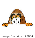 #23864 Clip Art Graphic Of A Football Cartoon Character Peeking Over A Surface