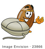 #23866 Clip Art Graphic Of A Football Cartoon Character With A Computer Mouse