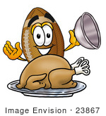 #23867 Clip Art Graphic Of A Football Cartoon Character Serving A Thanksgiving Turkey On A Platter