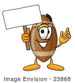 #23868 Clip Art Graphic Of A Football Cartoon Character Holding A Blank Sign