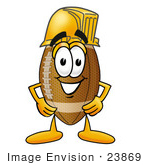 #23869 Clip Art Graphic Of A Football Cartoon Character Wearing A Hardhat Helmet
