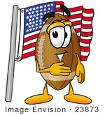 #23873 Clip Art Graphic Of A Football Cartoon Character Pledging Allegiance To An American Flag