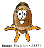 #23874 Clip Art Graphic Of A Football Cartoon Character Sitting