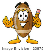 #23875 Clip Art Graphic Of A Football Cartoon Character Holding A Pencil
