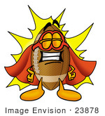 #23878 Clip Art Graphic Of A Football Cartoon Character Dressed As A Super Hero