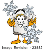 #23882 Clipart Picture Of A Chefs Hat Mascot Cartoon Character With Three Snowflakes In Winter