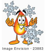 #23883 Clip Art Graphic Of A Fire Cartoon Character With Three Snowflakes In Winter