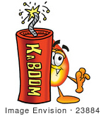 #23884 Clip Art Graphic Of A Fire Cartoon Character Standing With A Lit Stick Of Dynamite