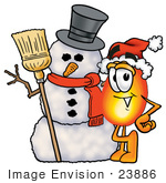 #23886 Clip Art Graphic Of A Fire Cartoon Character With A Snowman On Christmas
