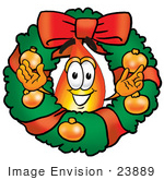 #23889 Clip Art Graphic Of A Fire Cartoon Character In The Center Of A Christmas Wreath