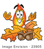 #23905 Clip Art Graphic Of A Fire Cartoon Character With Autumn Leaves And Acorns In The Fall
