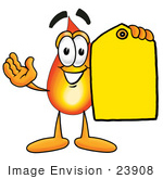 #23908 Clip Art Graphic of a Fire Cartoon Character Holding a Yellow Sales Price Tag by toons4biz