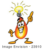 #23910 Clip Art Graphic of a Fire Cartoon Character With a Bright Idea by toons4biz