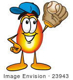 #23943 Clip Art Graphic Of A Fire Cartoon Character Catching A Baseball With A Glove