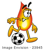 #23945 Clip Art Graphic Of A Fire Cartoon Character Kicking A Soccer Ball