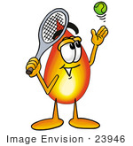 #23946 Clip Art Graphic of a Fire Cartoon Character Preparing to Hit a Tennis Ball by toons4biz