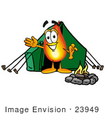 #23949 Clip Art Graphic Of A Fire Cartoon Character Camping With A Tent And Fire