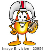 #23954 Clip Art Graphic Of A Fire Cartoon Character In A Helmet Holding A Football