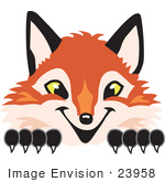 #23958 Clipart Picture Of A Fox Mascot Cartoon Character Peeking Over A Surface