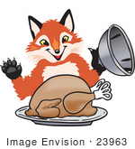 #23963 Clipart Picture of a Fox Mascot Cartoon Character Serving a Thanksgiving Turkey on a Platter by toons4biz